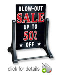 Deluxe Swinger Changeable Message Board Sidewalk Sign - Black