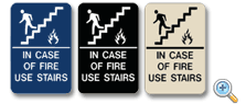 In Case Of Fire Use Stairs with Pictogram ADA Compliant Sign